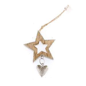 Drevená závesná hviezda