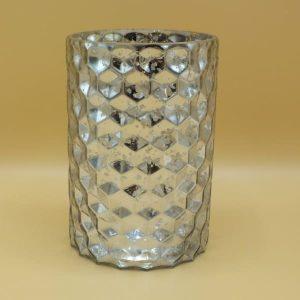 Strieborný sklenený svietnik