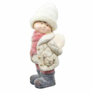 Figúrka dievča v čapici s led snehovou gulou