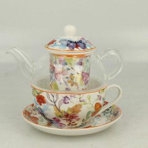 Sklenený čajník s porcelánovou šálkou
