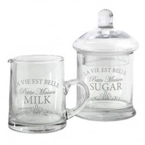 Sklenený set na mlieko a cukor