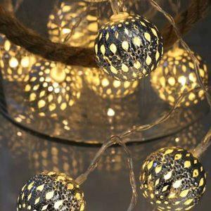 LED žiarovky 10 strieborných guličiek