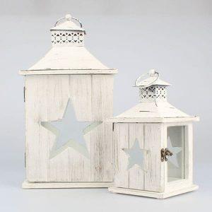 Drevený lampáš hviezda 26 cm