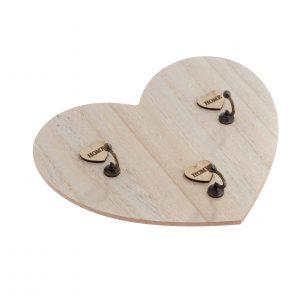Drevený vešiak na kľúče v tvare srdca