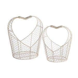 Set kovových košíkov v tvare srdca