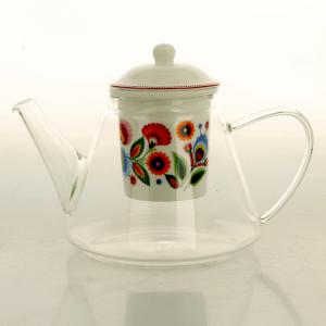 Sklenený čajník so sitkom Folklór