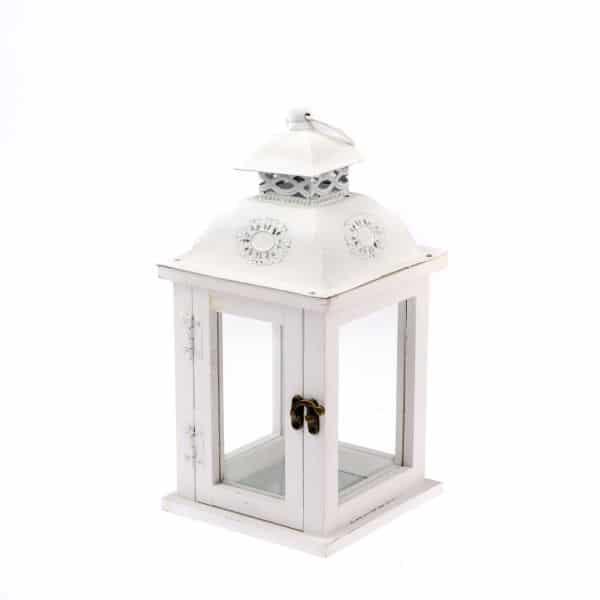 Drevený lampáš biela farba