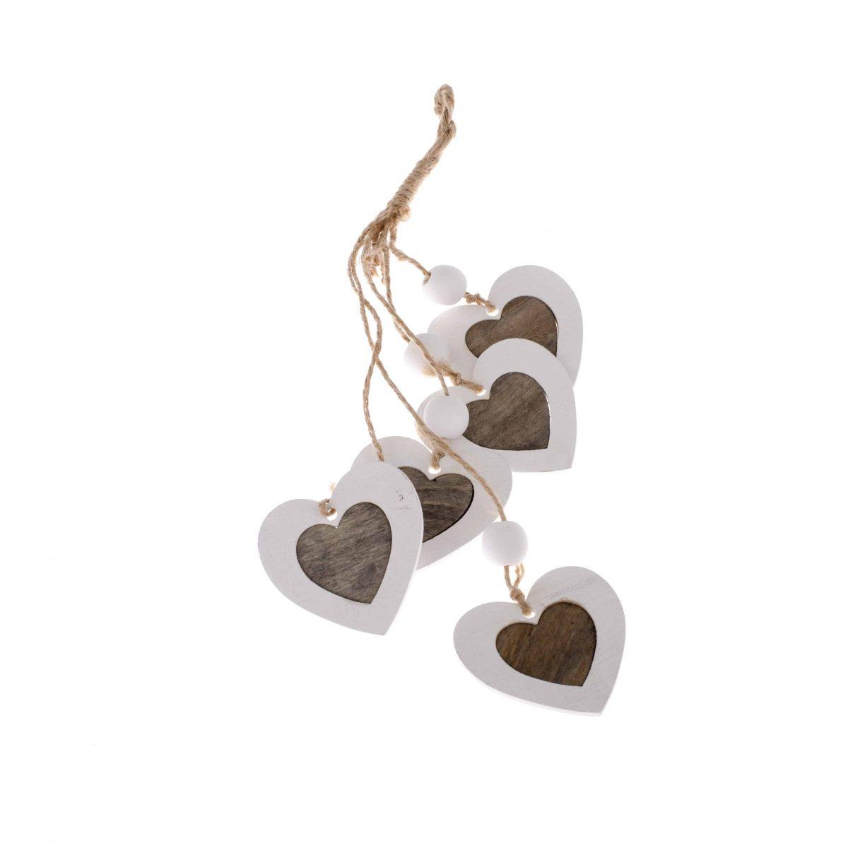 Závesná dekorácia srdce 5 ks