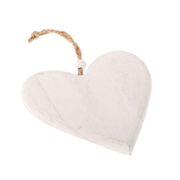 Drevené srdce na zavesenie biele