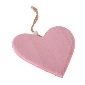 Drevené srdce na zavesenie ružové