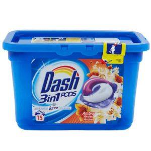 Kapsule na pranie Dash 3 v 1 Ambra 15 pracích dávok