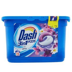 Kapsule na pranie Dash 3 v 1 Lavanda 15 pracích dávok